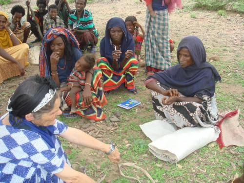 Valerie Browning in Ethiopia with the women.