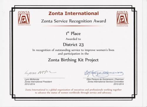 ZI District Service Project Award 2014